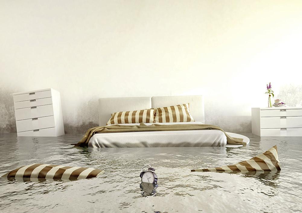 Bett unter Wasser